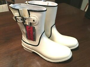 New (no box) CHOOKA RUBBER RAIN BOOTS Mid Fine Line Ivory Size 9