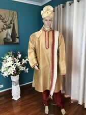 "38"" S 2 M Sherwani Suit Silk Indian Bollywood Mens Kurtha Gold Maroon Kurta HL63"