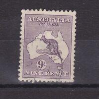 K263) Australia 1916 9d deep Violet Kangaroo, 3rd wmk. Die II