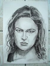 A4 Charcoal Sketch Drawing Ronda Rousey