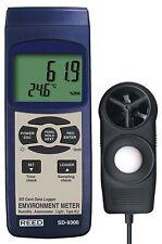 Reed SD-9300 Environmental Meter & Data Logger, %RH, Air Velocity, Light & Temp.