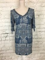 Blue Patterned 1/2 Sleeve Casual Long Top - V-Neck - Womens - Size M