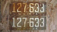 1924 NEW YORK LICENSE PLATE  PAIR # 127-633