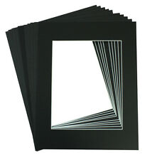 Pack of 10 11x14 BLACK Picture Mats with White Core Bevel Cut for 8x10 Pictures