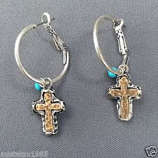 Silver Hoop Hammered Gold Cross Turquoise Stone Charm Drop Dangle Earrings