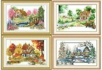 "New Finished Cross Stitch""Four Seasons""Finished Cross Stitch Home Decor"
