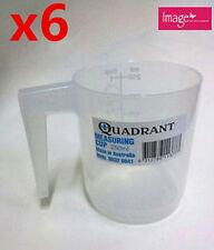 6x Measuring Cup Graduated 250ml Plastic Clear Transparent Jug Quadrant Q113777