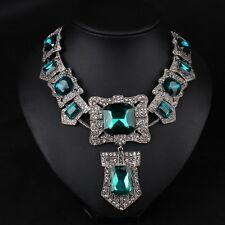 Fashion Jewelry Chain Pendant Vintage Choker Chunky Statement Bib Necklace Squar