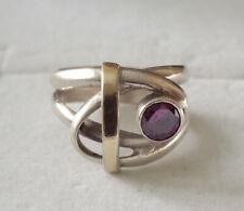 Sterling silver 925 and gold artist ring amethyst fine jewelry gem stone