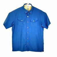 Ascend Mens Shirt Large Lightweight Bamboo Blend Blue Button Front Short Sleeve