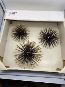 Black & Copper Sea Urchins Sunburst Wall Decor 3pc New