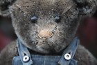 RARE & UNUSUAL ANTIQUE GREY MOHAIR GERMAN POUTY TEDDY BEAR c1920! GREATEST FACE!
