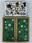 Antique Vintage Buttons Lot Two Frames With Fixed Buttons and 60+ Lose Buttons