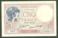 FRANCE 5 FRANCS VIOLET  du 19 / 3 / 1931 ETAT : SPLENDIDE 1 épinglage  # V44203