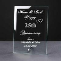 Personalised Engraved 25th Anniversary Glass Plaque Elegant Gift Anni-25-1