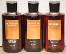 Bath & Body Works Men's Bourbon 2 in 1 Hair & Body Wash  set of 3