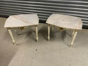 A Pair of French Cream Painted Gold & Marble Side Tables
