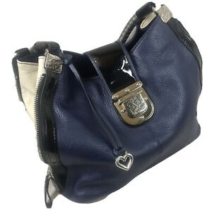 Brighton Collection Leather Hobo Shoulder Hand Bag Navy Blue Expandable