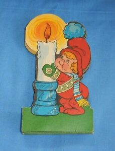 Vintage Scandinavian Die Cut Fold Out Paper Christmas Garland Child Candle