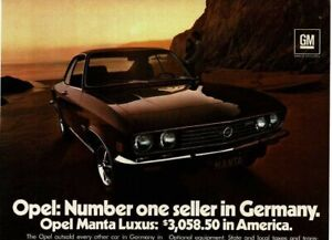 1973 Buick OPEL Manta Luxus red coupe Vintage Print Ad