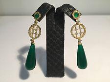 New expo - Pendientes EarRings - Golden Steel + Green Stone - Dorado + verde
