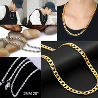 Women Men Gold Silver Solid Twist Rope Chain Necklace Wedding Engagement Jewelry
