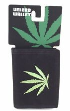 Pot Weed Marijuana Leaf Embroidered Logo Black Tri Fold Nylon Wallet New NWT