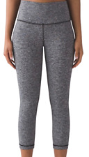 Lululemon Women's Under Crop Hi-Rise Gym Leggings Weathered Grey UK 10 &12