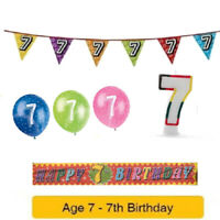 Age 7 - Happy 7th Birthday Party Balloons Banners & Decorations