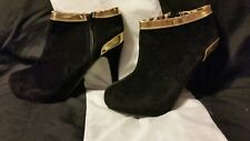 Black Suede trimmed in Gold Ankle Boots