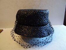 Vintage Ladies Black Straw Hat With Netting Veil