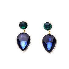 Boucles d`Oreilles Argenté Ear Jacket Goutte Rond Bleu Saphir  2 en 1 CC 8