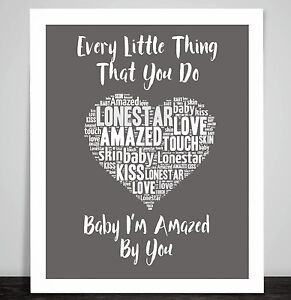 Lonestar Amazed Music Love Song Lyrics Heart Framed Art Print Wedding Gift