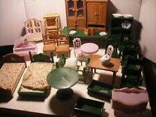 Vintage MAPLE TOWN Les Petits Malins SYLVANIAN FOREST FAMILIES Gros LOT meubles