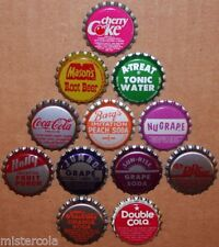 Vintage soda pop bottle caps 12 ALL DIFFERENT plastic lined mix #9 new old stock
