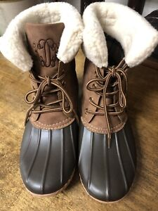 """Marley Lilly Sz 10 Duck Boots Monogram """"KDR""""On The Tongue Brown~Slightly used"""