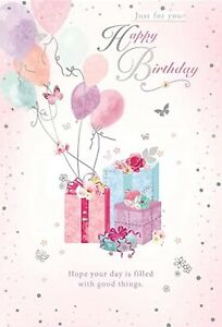 Open Female Happy Birthday Card~Pretty Pink Balloons~By Greeting ~Free P&P