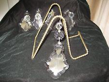 "Crystal PRISMS#8)5 beveled ex-large PENTALOGUE-2 3/4""w x 4 "" CRYSTAL&ROSETTE"