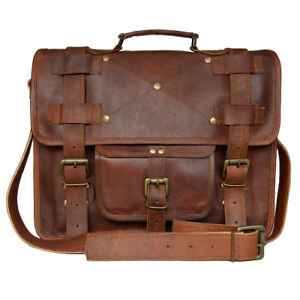 Men's Genuine Leather  Crossbody Briefcase Bag Vintage Laptop Brown Satchel Bag
