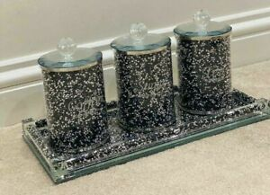 3PCS BLACK CRUSHED DIAMOND CRYSTAL FILLED TEA COFFEE SUGAR CANISTERS JARS GLASS