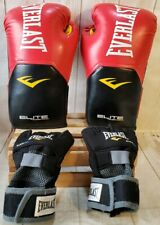 Everlast Elite Pro Style Leather Training Boxing Gloves 16oz w/EverGel Int. Glov