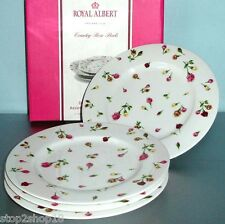 Royal Albert Country Rose Buds 4 Plates Dessert Salad Luncheon New In Box