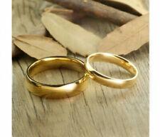Lote 2 Alianzas de boda en carburo de Tungsteno con recubrimiento oro IP