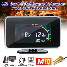 M10 2in1 LCD Digital Display Voltmeter Water Temp Temperature Gauge Universal