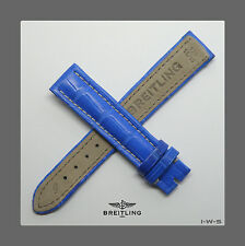 ☆ NEW BREITLING ☆18-16MM☆ BRIGHT BLUE COLOR CROCODILE STRAP ☆