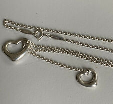 Authentic Tiffany & Co. Sterling Silver Elsa Peretti Open Heart Lariat Necklace