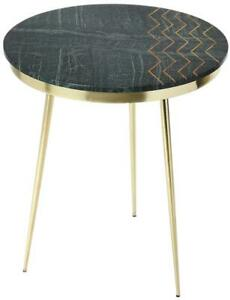 ACCENT TABLE CONTEMPORARY BRASS DISTRESSED GREEN METALWORKS IRON MARBLE ME