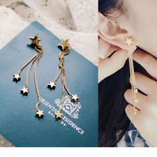 1 Pair Fashion Women Korean Style Long Tassel Stars Ear Stud Earrings Jewelry