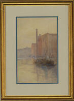 F.M.B - Framed Early 20th Century Watercolour, Town River Scene with a Boat