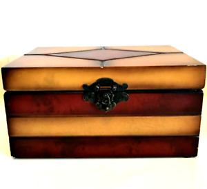 Wooden Chest Trinket Box Ornate Latch Hinged Fabric Lined 8.5 inches Long